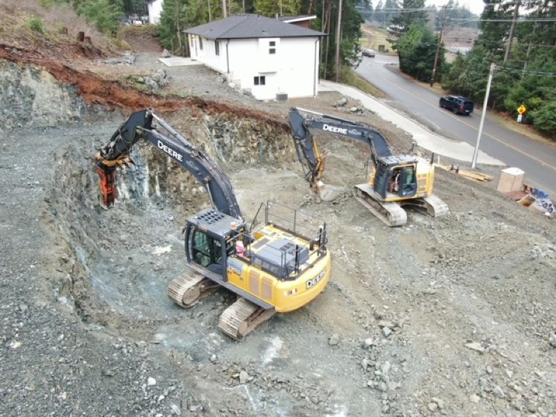 construction active digging in residential area