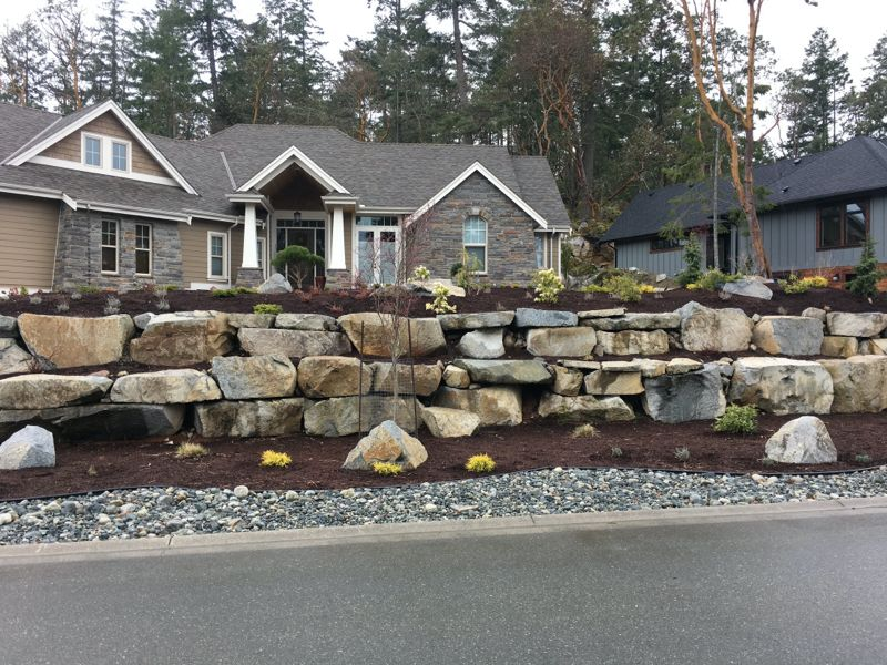 residential rock wall