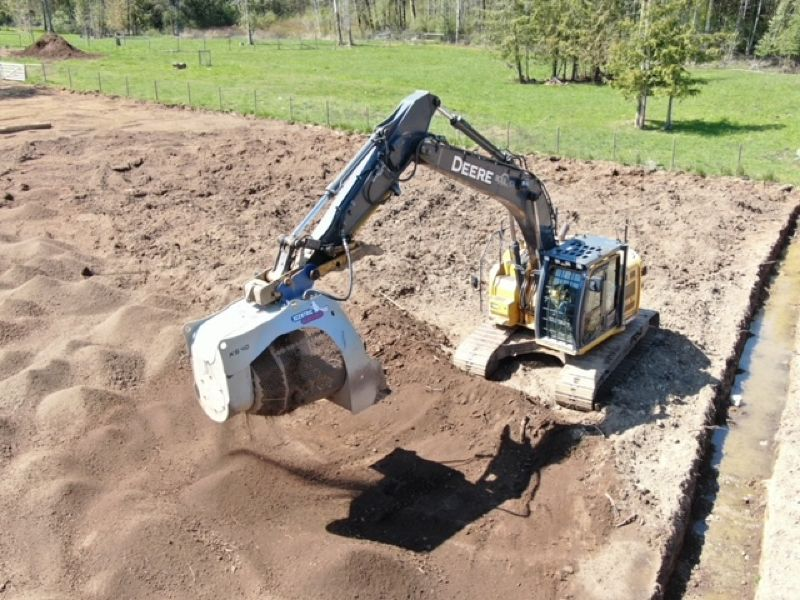 digging sand on outdoor site