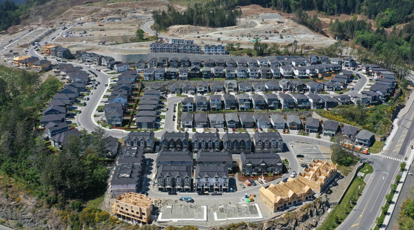 Aerial view of verity construction residential project