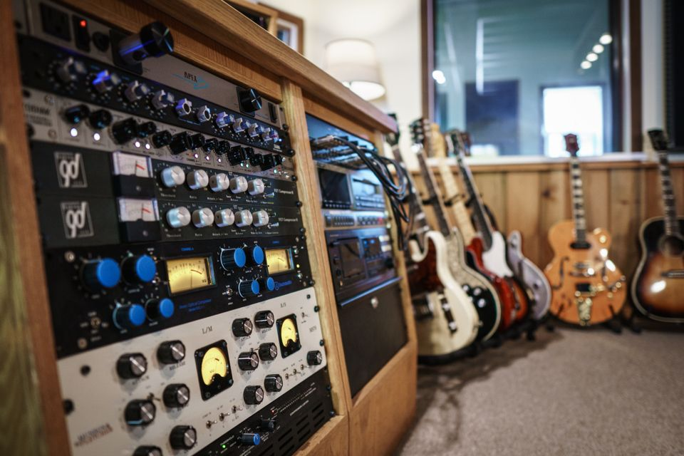 Image depicting recording equipment and instruments